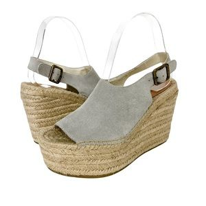 Soludos Suede Leather Espadrilles Wedge Sandals